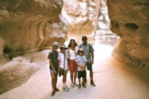 Walking through the Siq to enter Petra