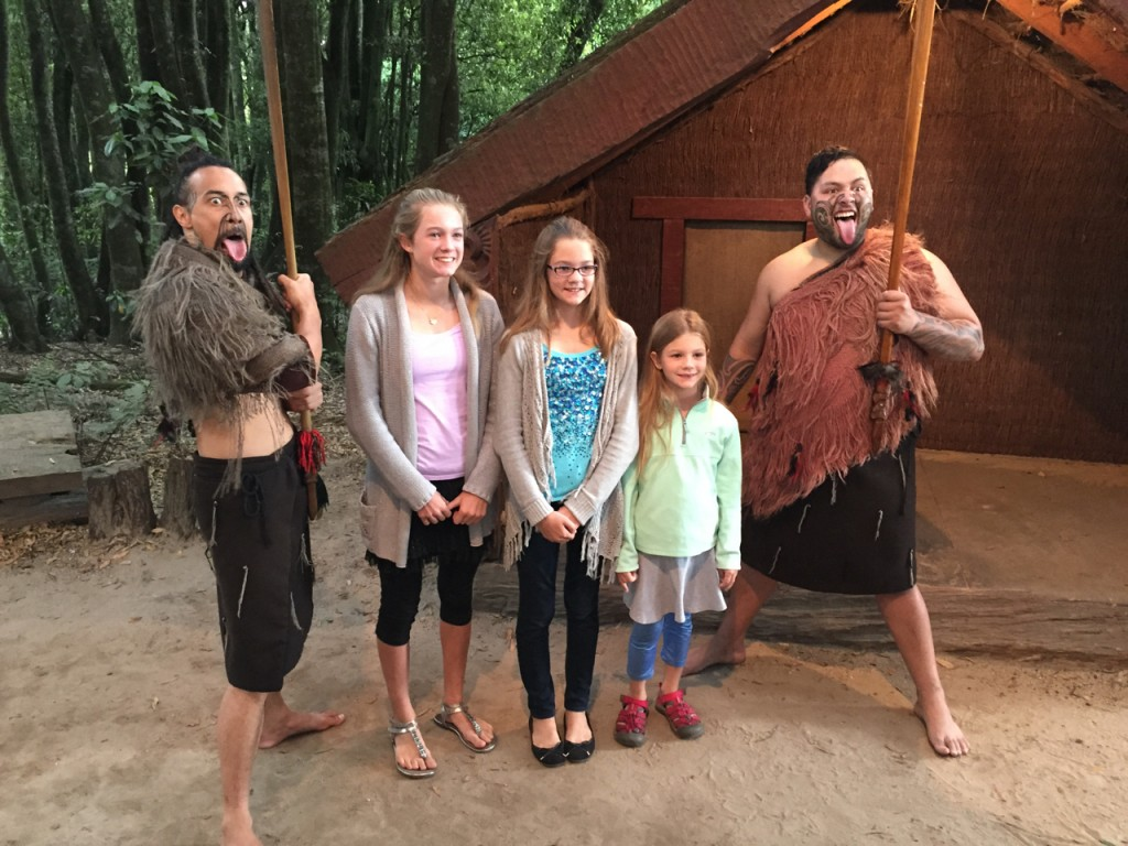 The daughters at a Maori Hangi (cultural exhibition with a dinner)
