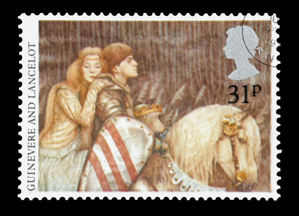 15181398 - united kingdom - circa 1985: mail stamp printed in the uk featuring the arthurian legends of lady guinevere and sir lancelot.
